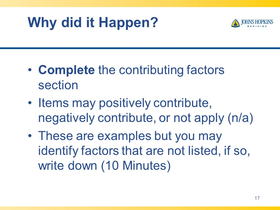 Why did it Happen Complete the contributing factors section