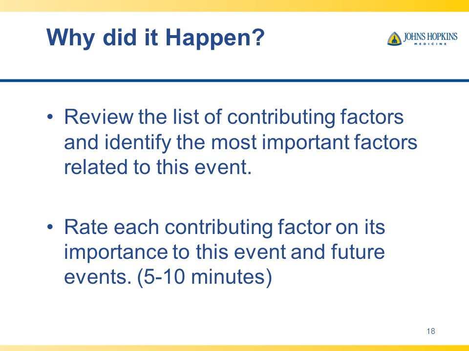 Why did it Happen Review the list of contributing factors and identify the most important factors related to this event.
