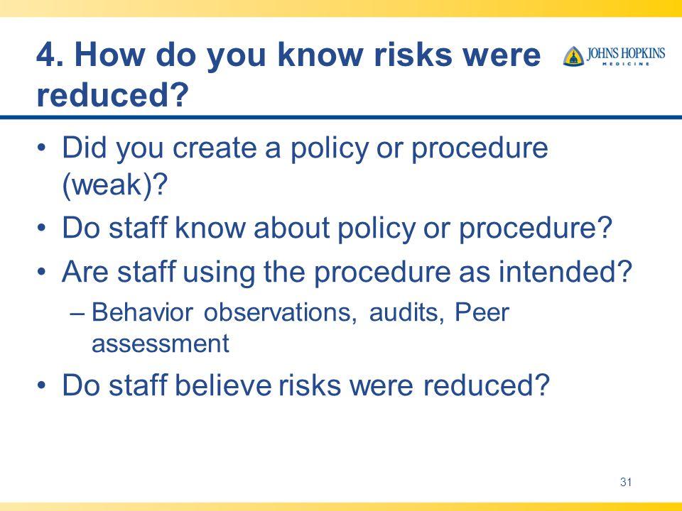 4. How do you know risks were reduced