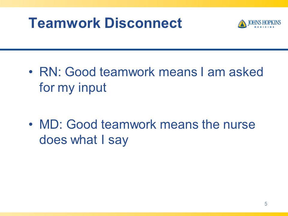 Teamwork Disconnect RN: Good teamwork means I am asked for my input
