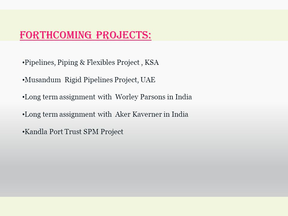 forthcoming Projects: