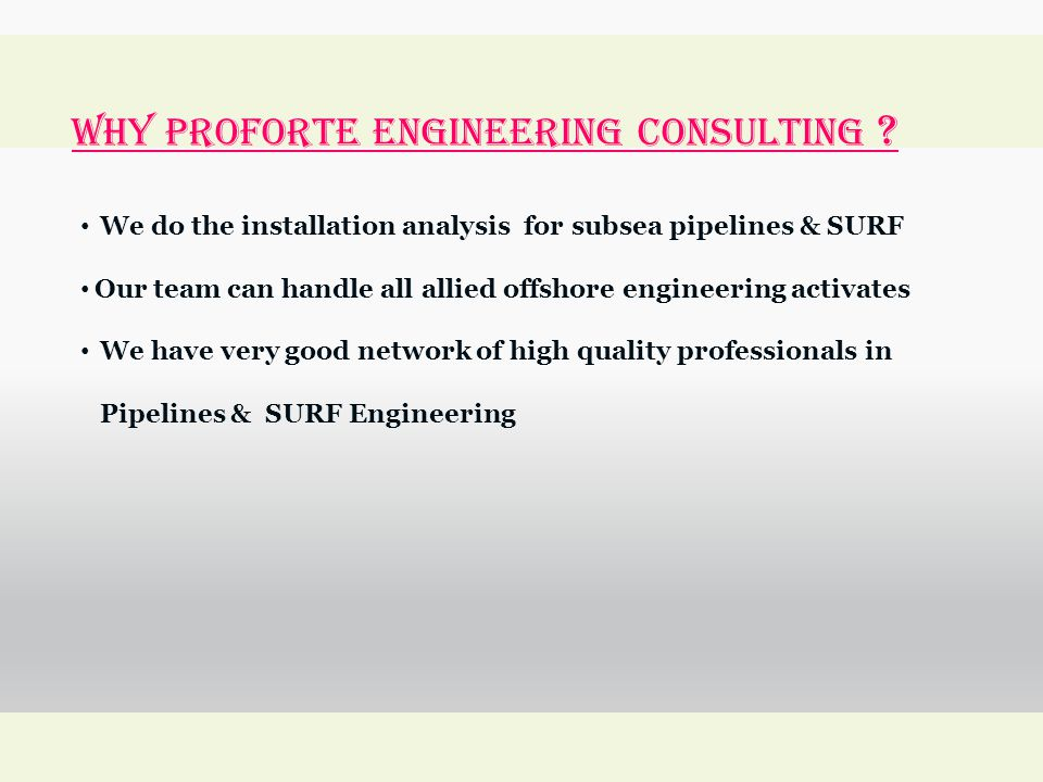 WHY Proforte Engineering Consulting