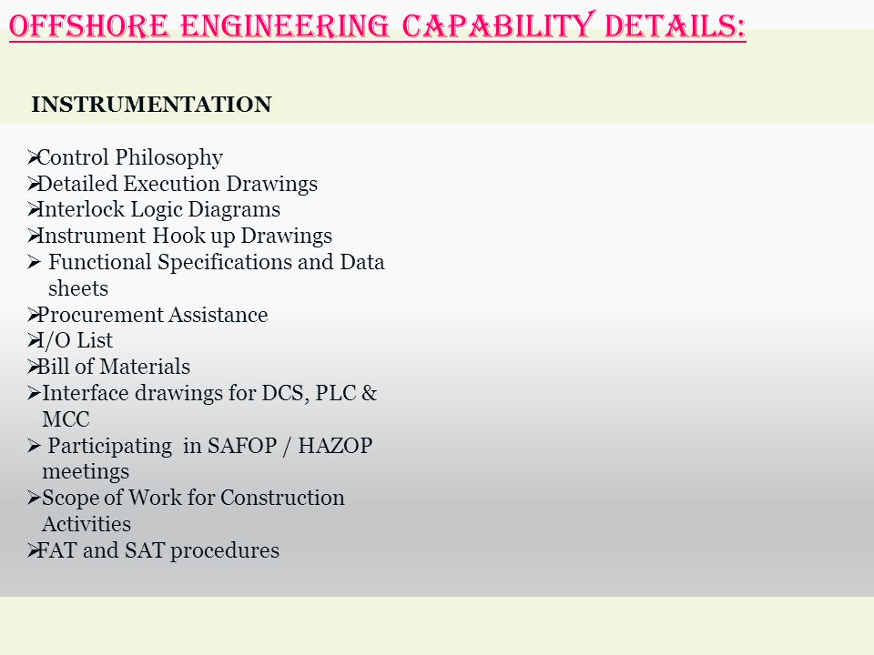OFFSHORE ENGINEERING Capability Details: