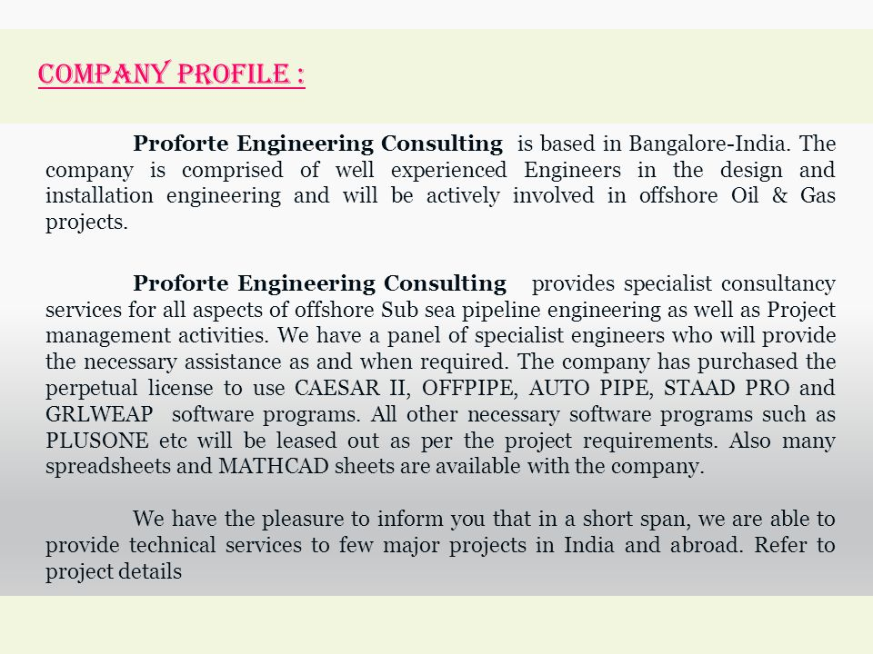 Engineering Consultancy Profile : Proforte engineering consulting ppt video online download