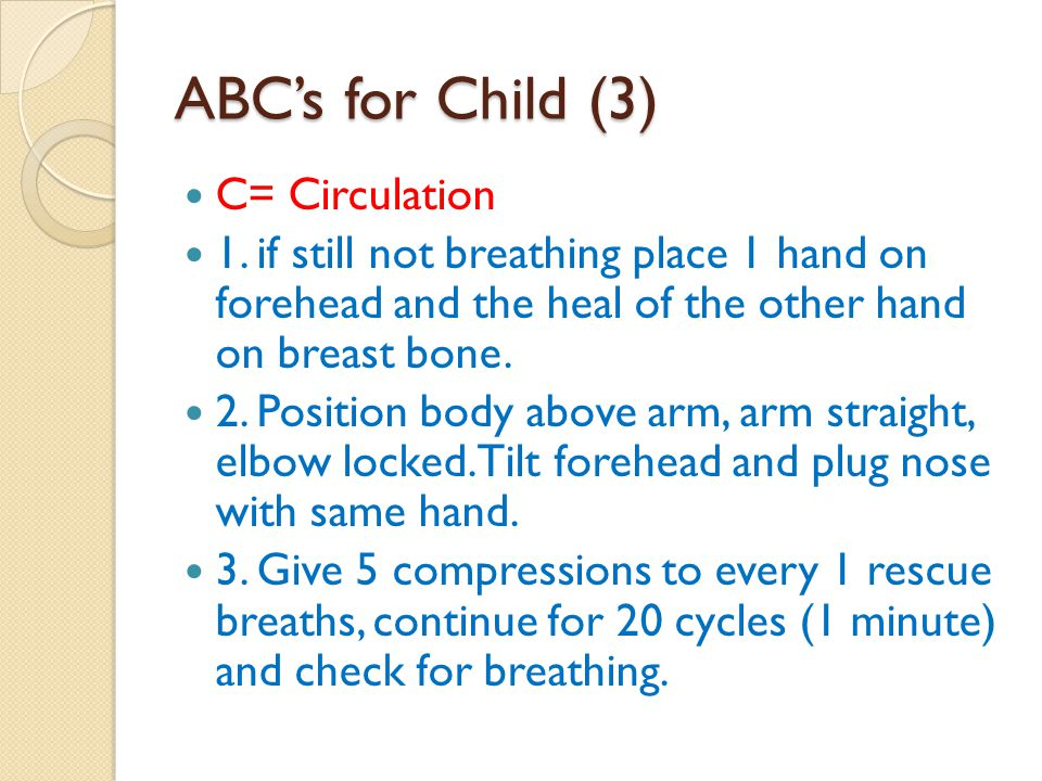 ABC's for Child (3) C= Circulation