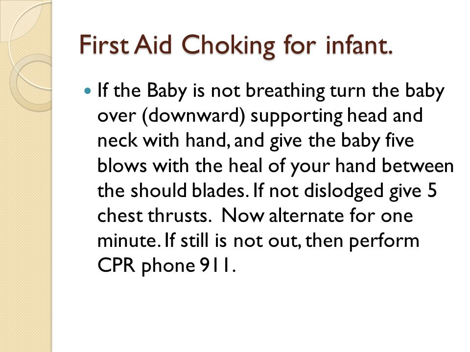 First Aid Choking for infant.