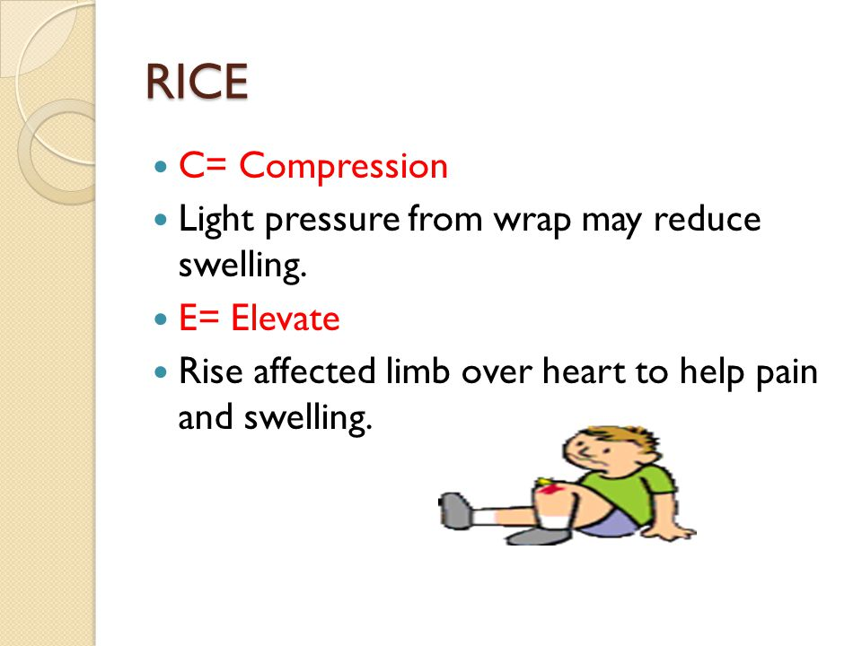 RICE C= Compression Light pressure from wrap may reduce swelling.