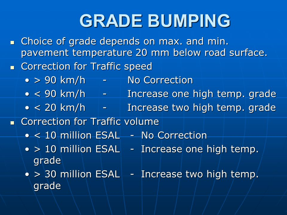 GRADE BUMPING Choice of grade depends on max. and min. pavement temperature 20 mm below road surface.