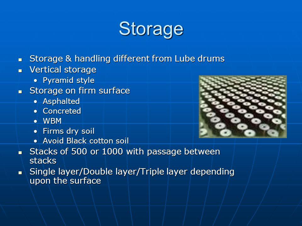 Storage Storage & handling different from Lube drums Vertical storage