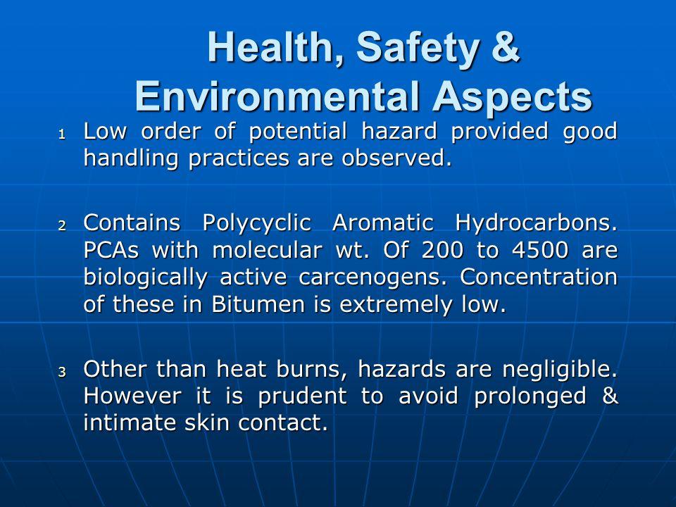 Health, Safety & Environmental Aspects