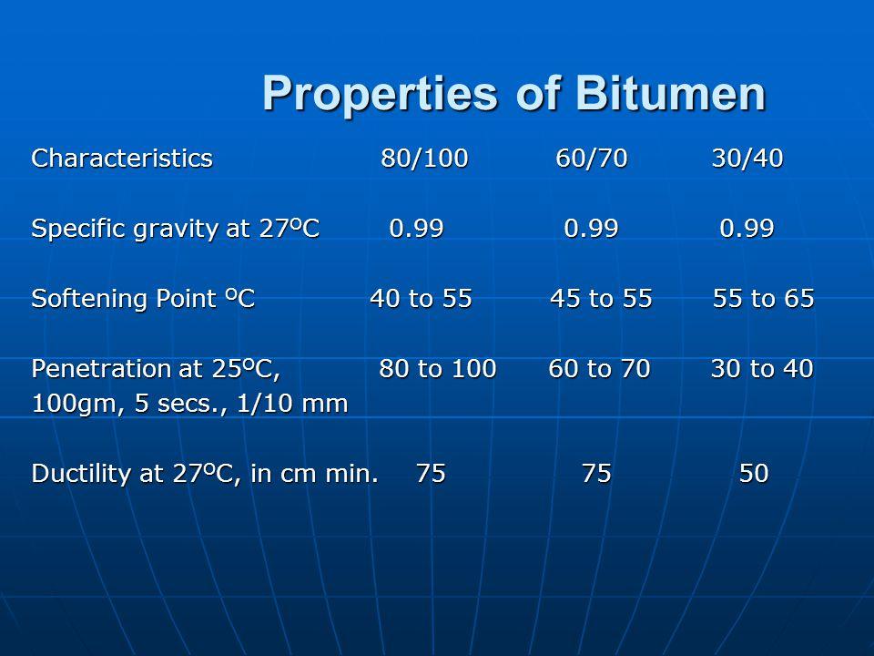 Properties of Bitumen Characteristics 80/100 60/70 30/40