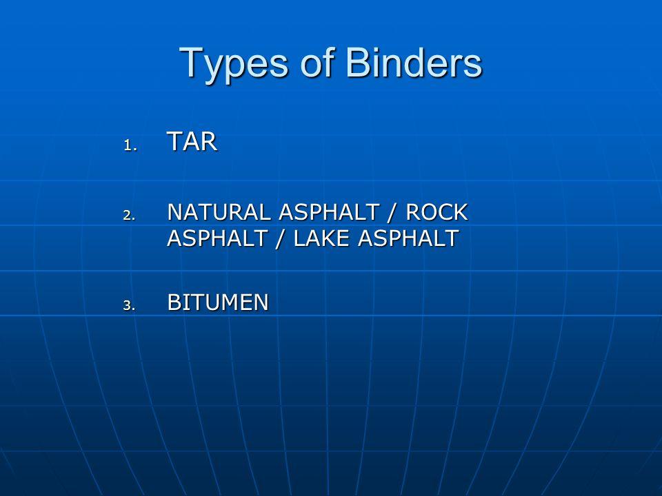 Types of Binders TAR NATURAL ASPHALT / ROCK ASPHALT / LAKE ASPHALT