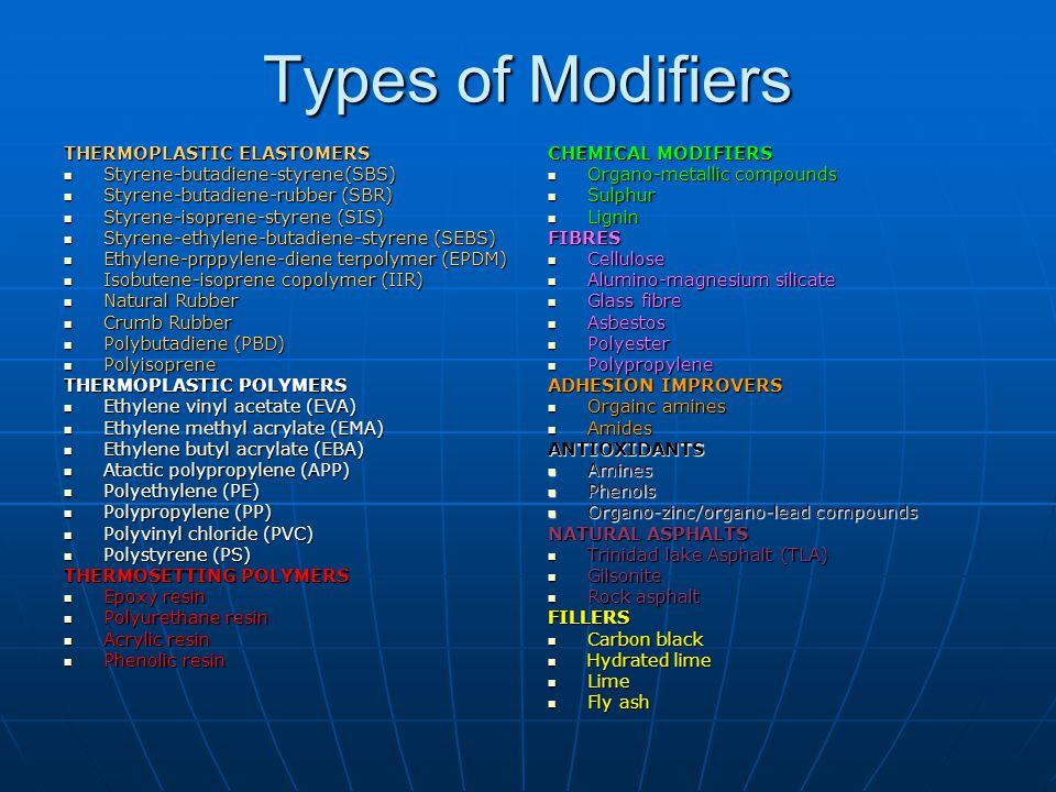 Types of Modifiers THERMOPLASTIC ELASTOMERS