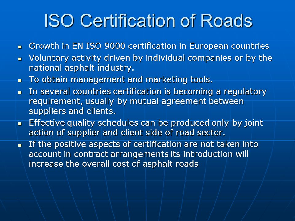 ISO Certification of Roads