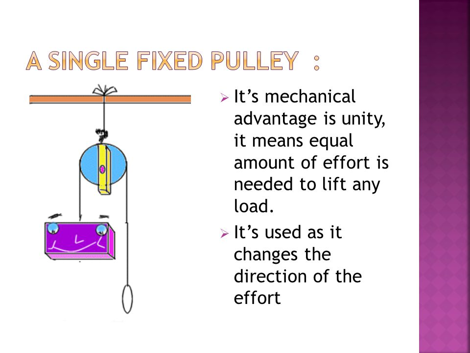 A SINGLE FIXED PULLEY : It's mechanical advantage is unity, it means equal amount of effort is needed to lift any load.