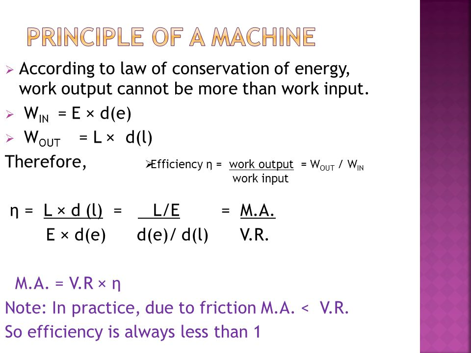 PRINCIPLE OF A MACHINE According to law of conservation of energy, work output cannot be more than work input.