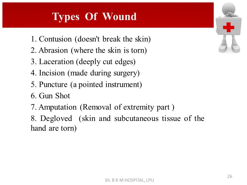 Types Of Wound 1. Contusion (doesn t break the skin)