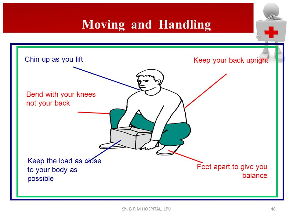 Moving and Handling Chin up as you lift Keep your back upright