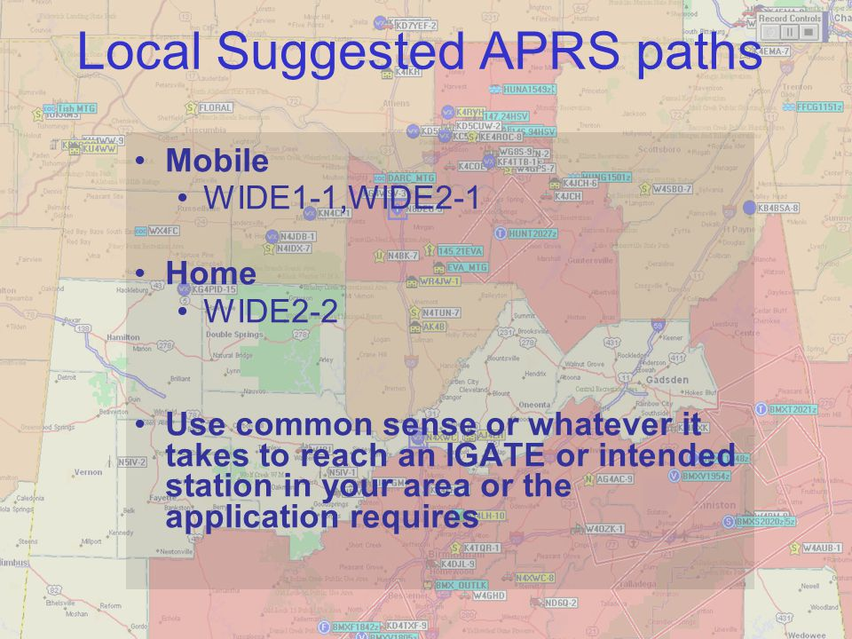 Local Suggested APRS paths