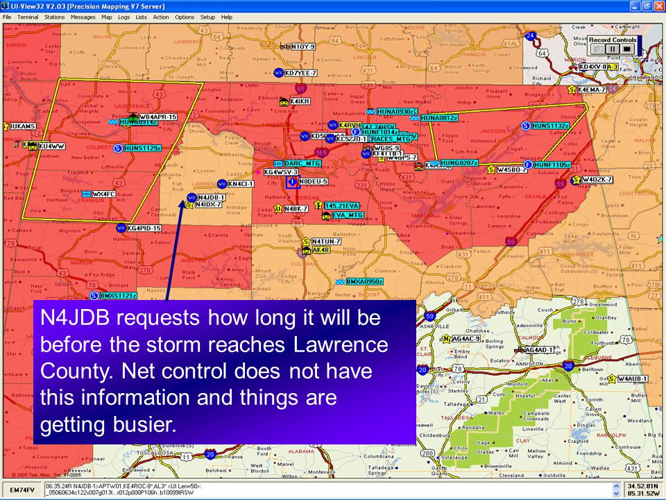N4JDB requests how long it will be before the storm reaches Lawrence County.