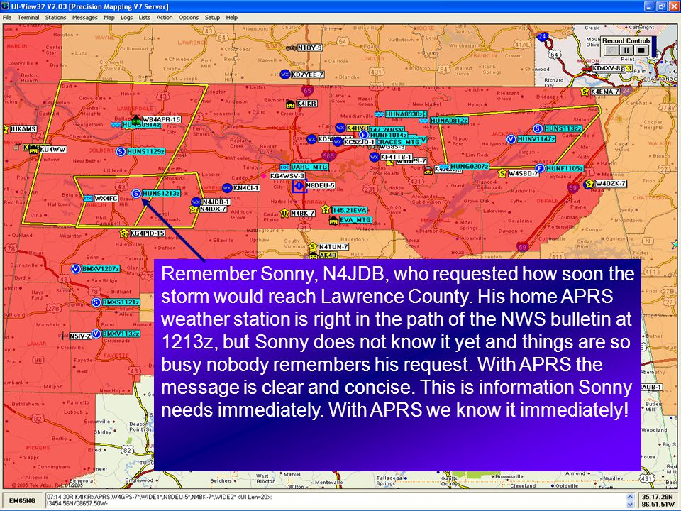 Remember Sonny, N4JDB, who requested how soon the storm would reach Lawrence County.