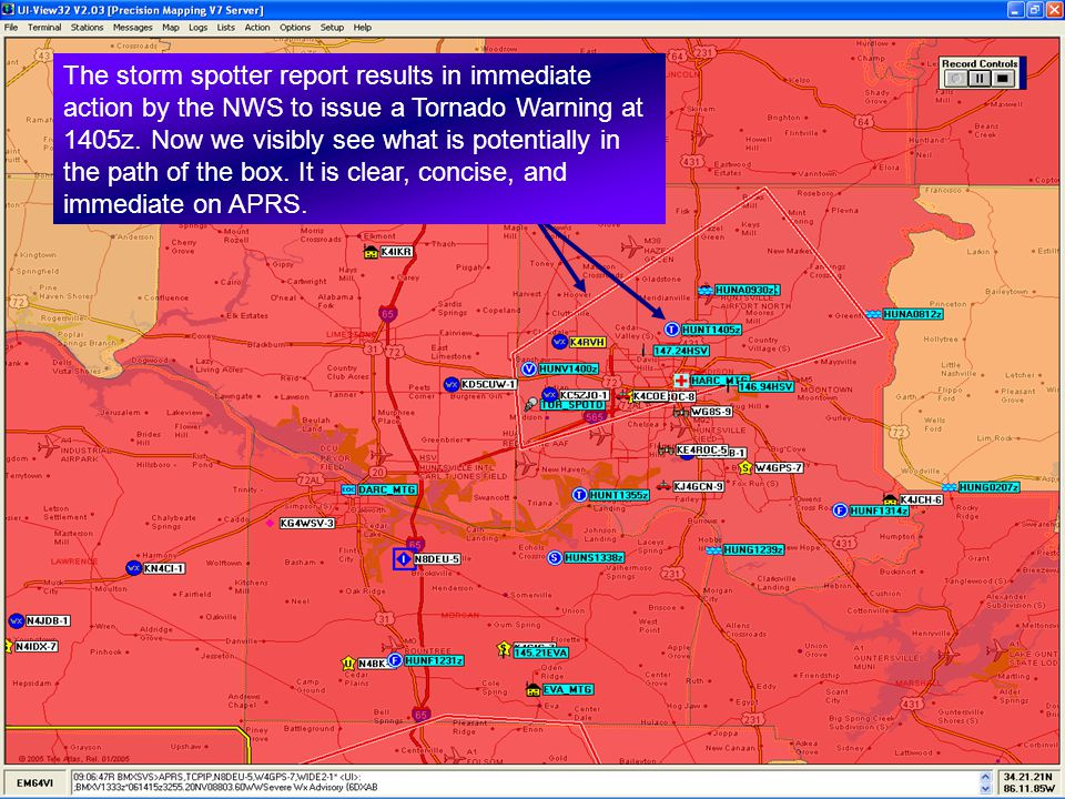The storm spotter report results in immediate action by the NWS to issue a Tornado Warning at 1405z.