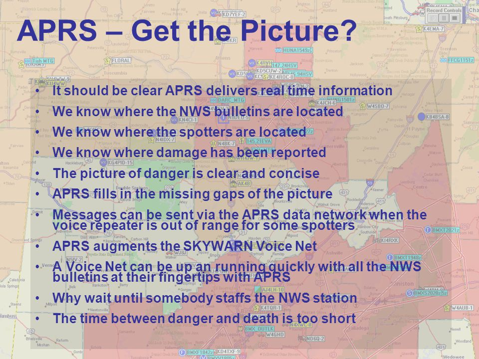 APRS – Get the Picture It should be clear APRS delivers real time information. We know where the NWS bulletins are located.