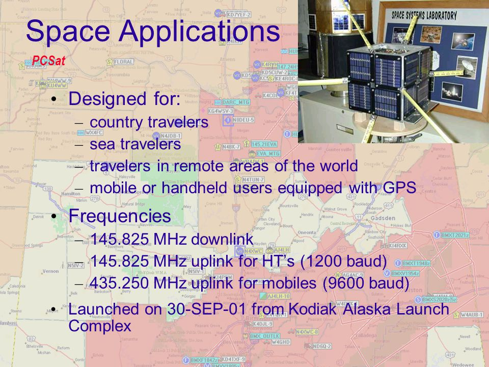 Space Applications Designed for: Frequencies country travelers