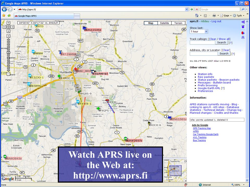 Watch APRS live on the Web at: