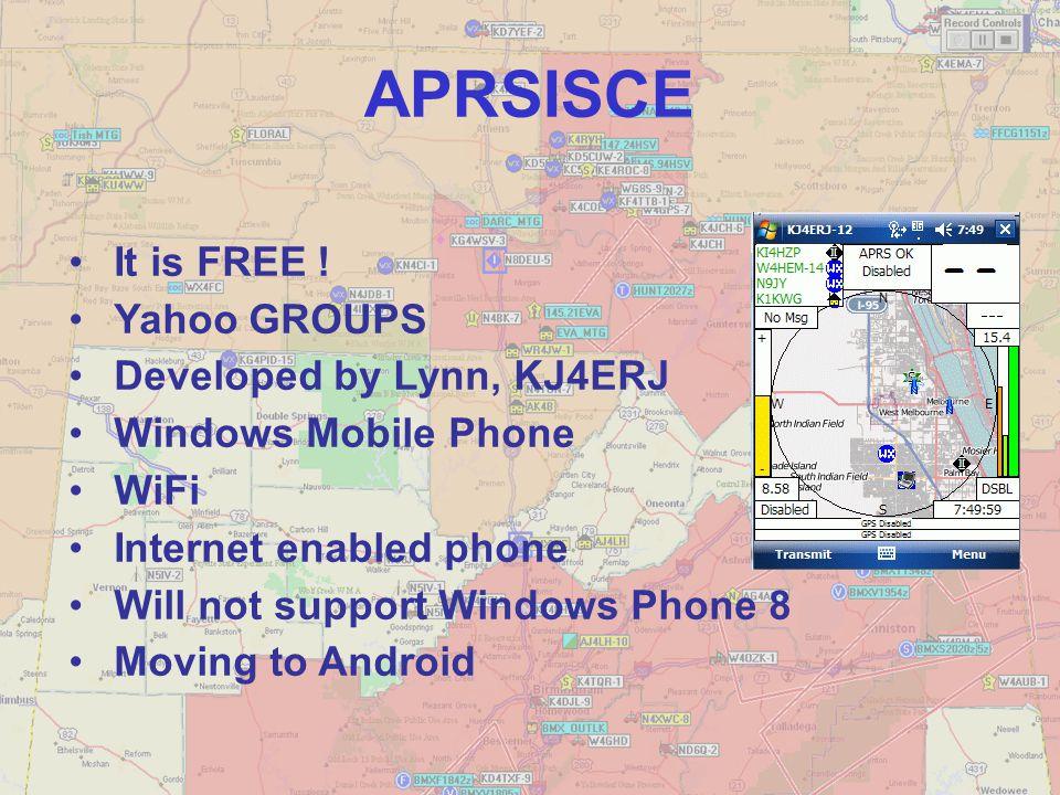 APRSISCE It is FREE ! Yahoo GROUPS Developed by Lynn, KJ4ERJ