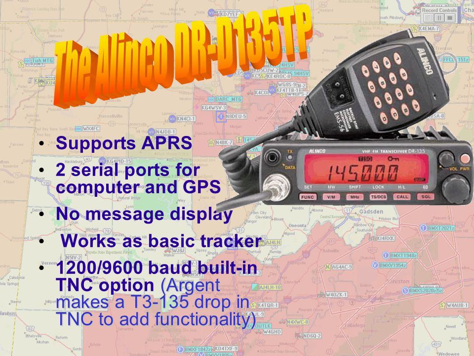 The Alinco DR-D135TP Supports APRS 2 serial ports for computer and GPS