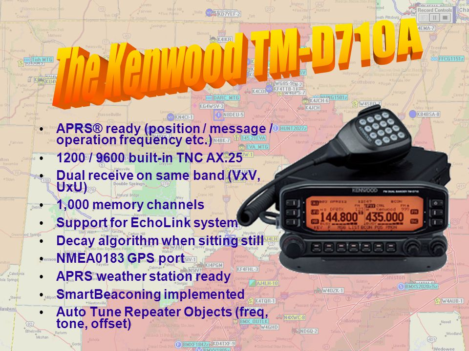 The Kenwood TM-D710A APRS® ready (position / message / operation frequency etc.) 1200 / 9600 built-in TNC AX.25.