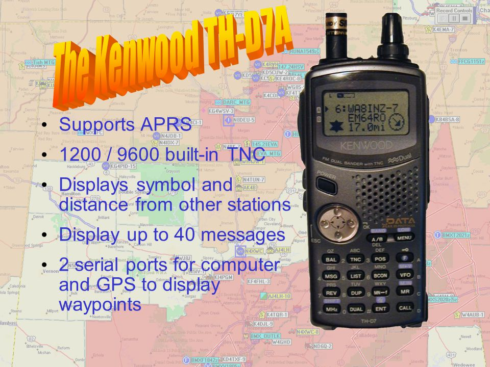 The Kenwood TH-D7A Supports APRS 1200 / 9600 built-in TNC