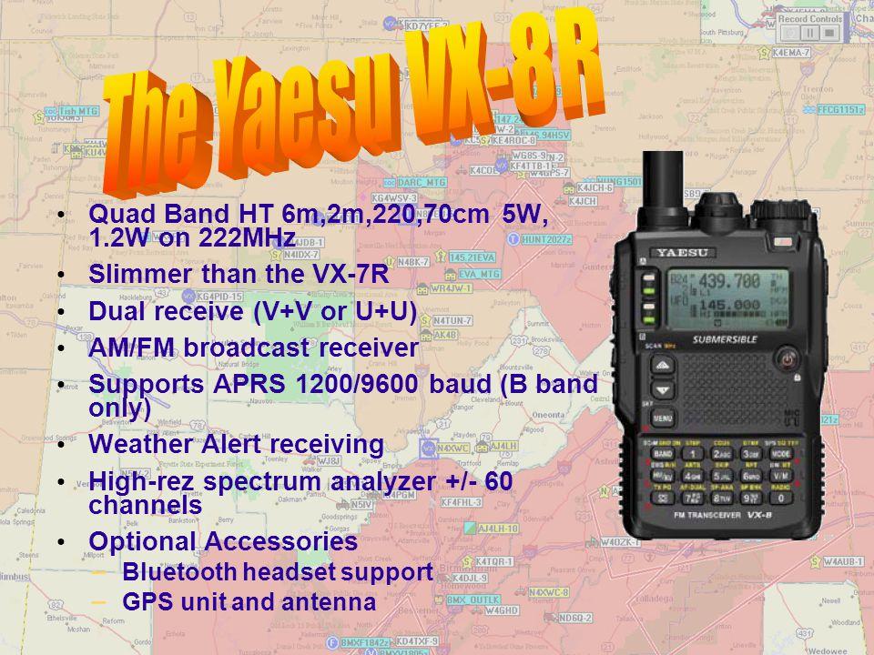 The Yaesu VX-8R Quad Band HT 6m,2m,220,70cm 5W, 1.2W on 222MHz