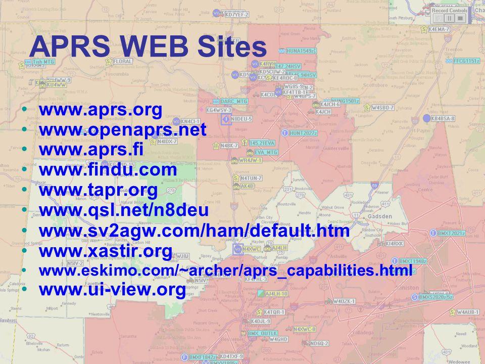 APRS WEB Sites www.aprs.org www.openaprs.net www.aprs.fi www.findu.com