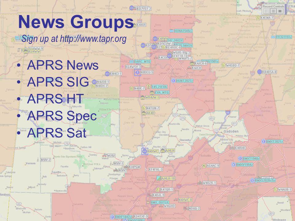 News Groups APRS News APRS SIG APRS HT APRS Spec APRS Sat
