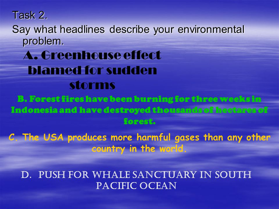 D. Push for whale sanctuary in South Pacific ocean