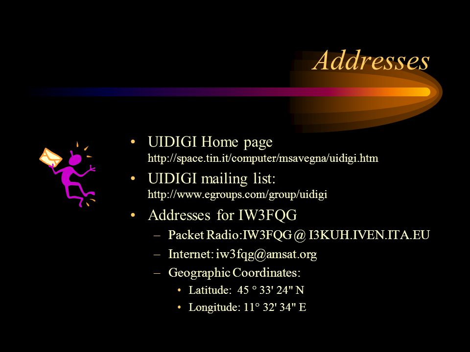 Addresses UIDIGI Home page http://space.tin.it/computer/msavegna/uidigi.htm. UIDIGI mailing list: http://www.egroups.com/group/uidigi.