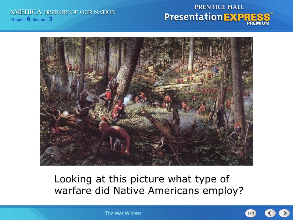Looking at this picture what type of warfare did Native Americans employ