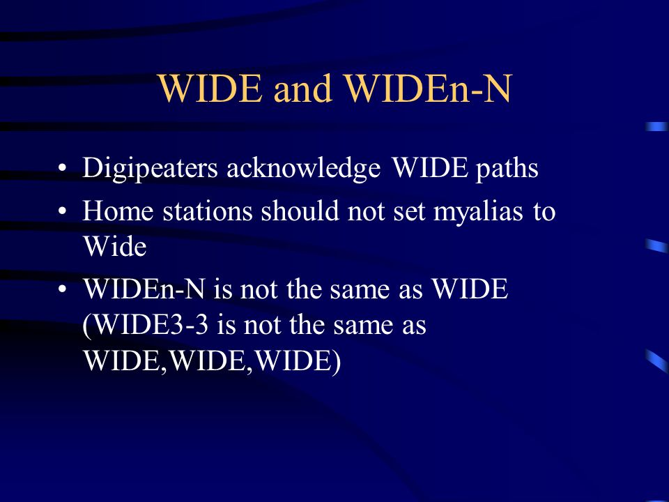 WIDE and WIDEn-N Digipeaters acknowledge WIDE paths