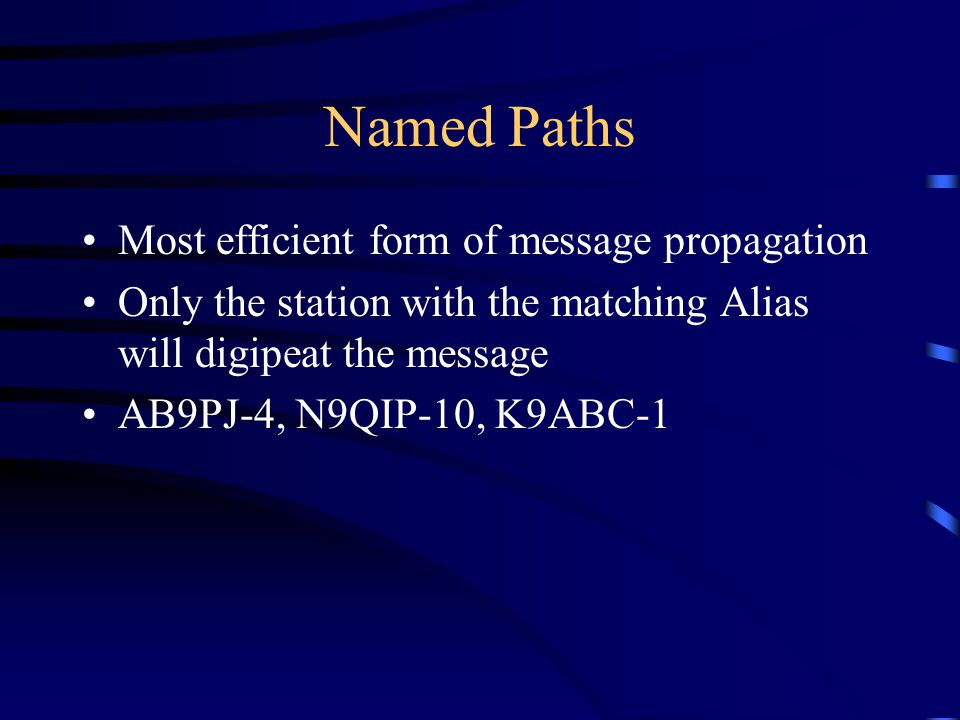 Named Paths Most efficient form of message propagation
