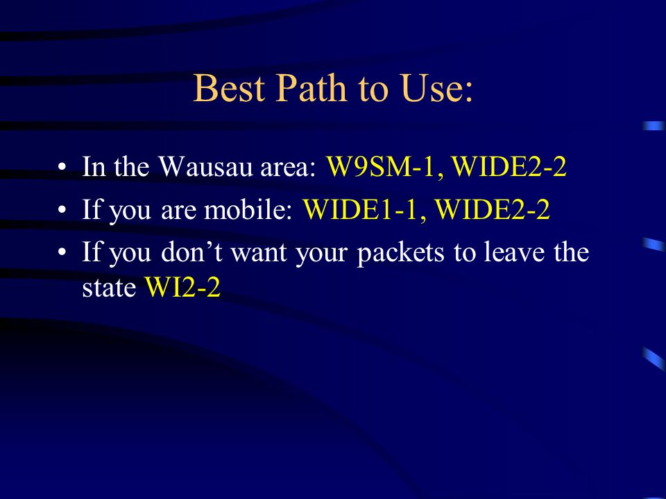 Best Path to Use: In the Wausau area: W9SM-1, WIDE2-2