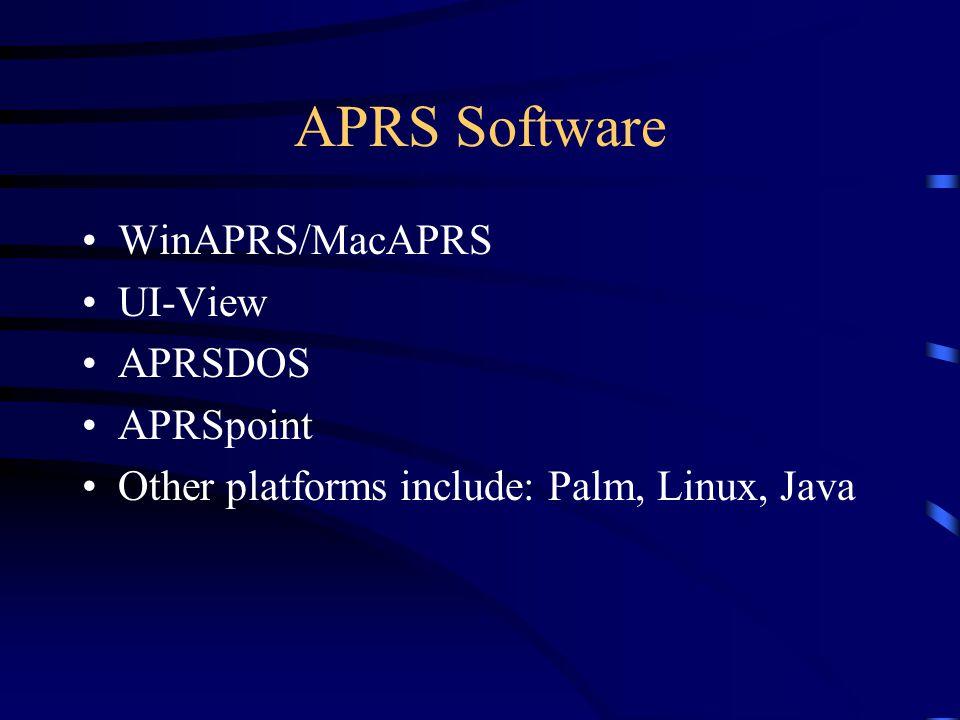 APRS Software WinAPRS/MacAPRS UI-View APRSDOS APRSpoint