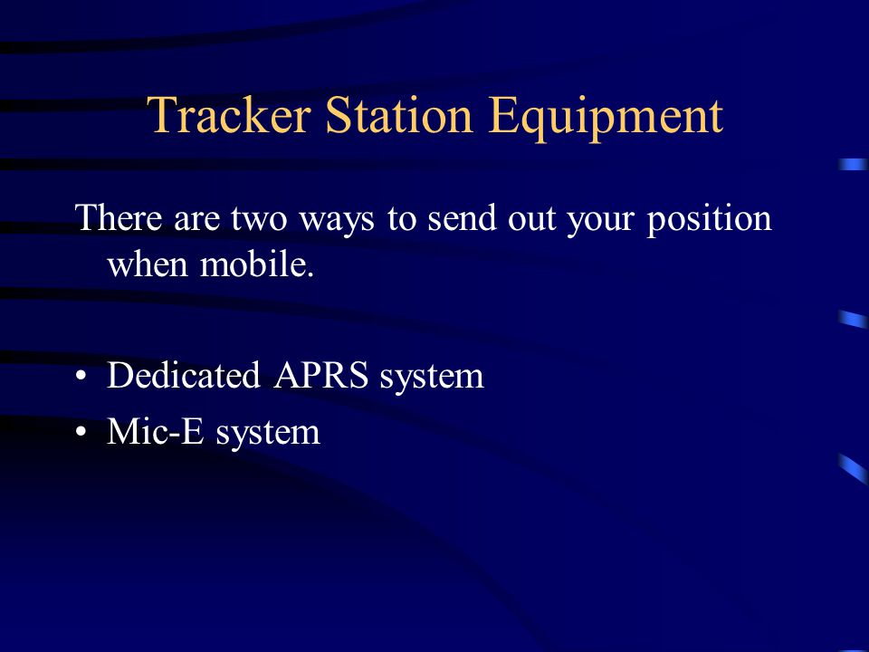 Tracker Station Equipment