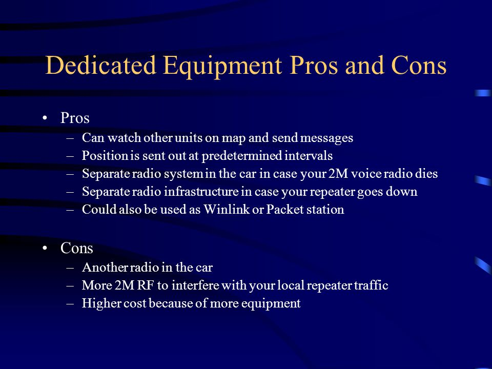 Dedicated Equipment Pros and Cons