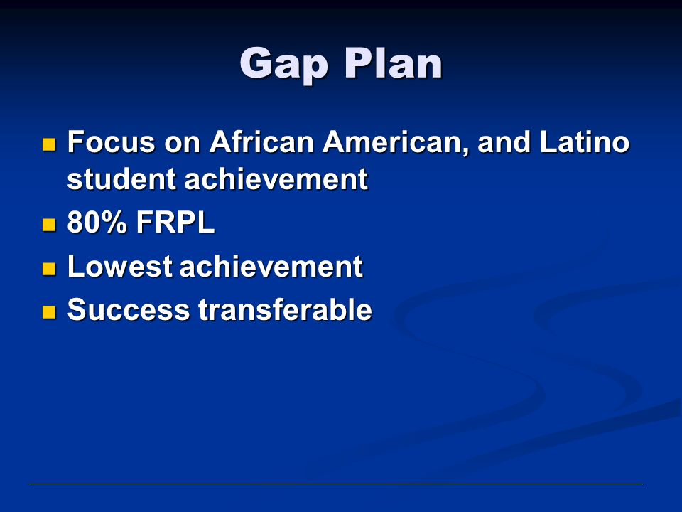 Gap Plan Focus on African American, and Latino student achievement