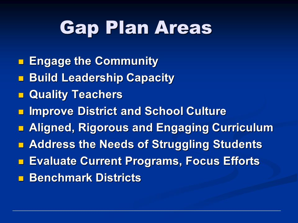 Gap Plan Areas Engage the Community Build Leadership Capacity