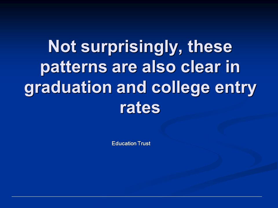 Not surprisingly, these patterns are also clear in graduation and college entry rates