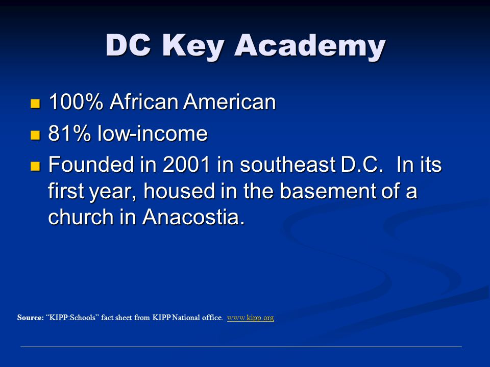 DC Key Academy 100% African American 81% low-income