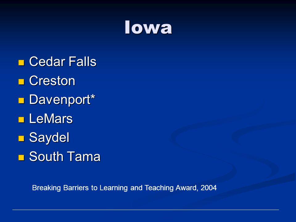 Iowa Cedar Falls Creston Davenport* LeMars Saydel South Tama